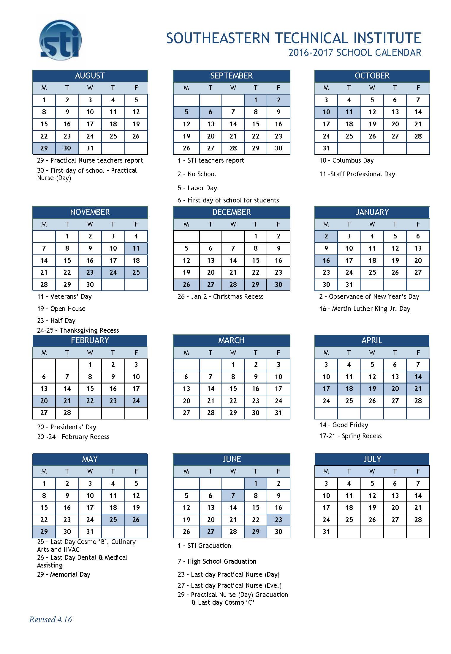 Block Calendar 16-17