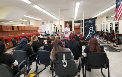 Shark Fin Professional Shear Company Presents to the Cosmetology Students